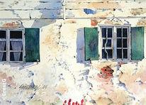 Fassade, Schlagschatten, Morgensonne, Aquarell