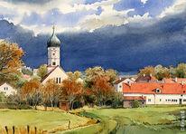 Dorf, Kirche, Aquarellmalerei, Landschaft