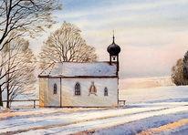 Aquarellmalerei, Landschaft, Kapelle, Malerei