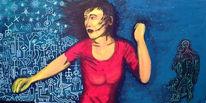 Frau, Chaos, Flucht, Malerei