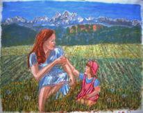 Kind, Mutter, Landschaft, Feld