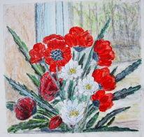 Stillleben, Blumen, Mohn, Malerei