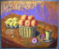 Stillleben, Früchte, Tee, Zitrone