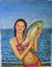 Meer, Mädchen, Fisch, Schiff