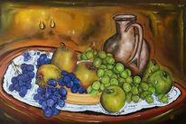 Früchte, Weintrauben, Apfel, Malerei