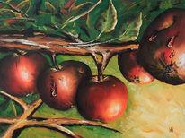 Früchte, Apfel, Malerei, Stillleben