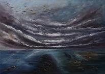 Wolken, Meer, Zugvögel, Malerei