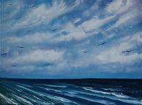Seelandschaft, Wolken, Meer, See