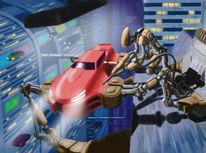 Tankstelle, Konzept, Roboter, Auto