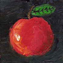 Rot, Apfel, Spachtel, Acrylmalerei