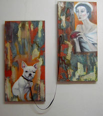Hundeleine, Frau, Collage, Fenster