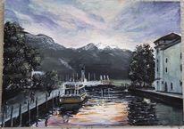 Gardasee, Hafen, Abendstimmung, Aquarell