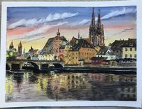 Regensburg, Dämmerung, Sinken, Stadt