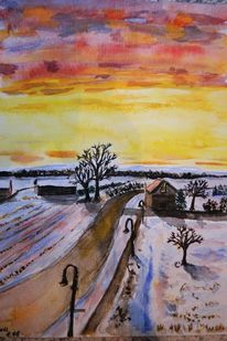 Winter, Morgen, Dämmerung, Aquarell