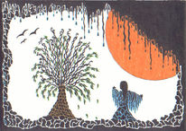 Baum, Orange, Sonne, Malerei