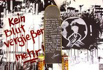 Skateboard, Stadt, Blut, Graffiti