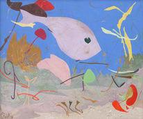Malerei, Himmel, Fisch