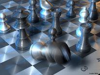 Edelstahl, Spiel, Schach, Digitale kunst