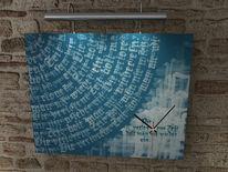 Zeit, Uhr, Wanduhr, Schrift