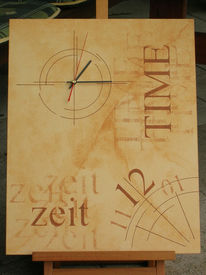Zeit, Uhr, Wanduhr, Malerei