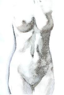 Akt, Nude female, Studie, Zeichnung