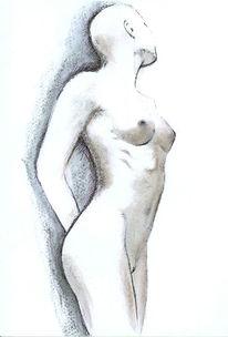 Skizze, Kohlezeichnung, Weiblich, Studie