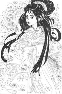 Japan, Kimono, Geisha, Zeichnungen