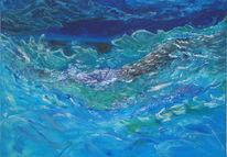 Blau gefühlsausbruch, Spachteltechnik, Sturm am meer, Meer