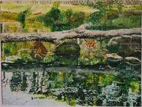 Impressionismus, Katze, Tiger, Wasser