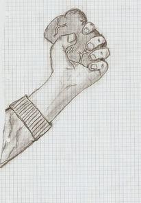 Skizze, Herz, Menschen, Hand