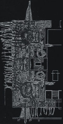 Wesen, Surreal, Schwarzweiß, Architektur
