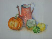 Malerei, Stillleben, Früchte, Kanne
