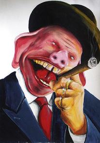 Gesicht, Hochmut, Zeichnung, Schweinehund