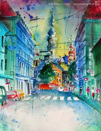 Stadt, Gasse, Aquarellmalerei, Kirche