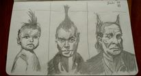Punk, Bleistiftzeichnung, Schwarz weiß, Portrait