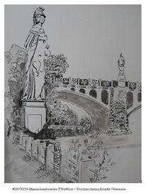 Maximiliansbrücke, Aquarellmalerei, Brunnen, Tuschmalerei
