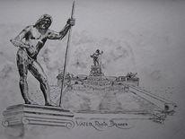 Ölmalerei, Brunnen, Rhein, Acrylmalerei