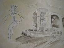 Ölmalerei, Eck, Acrylmalerei, Brunnen