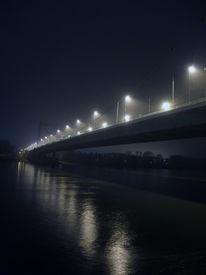 Mülheimerbrücke, Nacht, Fotografie, Nebel