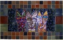 Mosaik, Malerei, Katze, Kachel