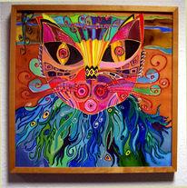 Seidenmalerei, Malerei, Katze, Abstrakt