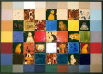 Malerei, Katze, Textil, Kunsthandwerk