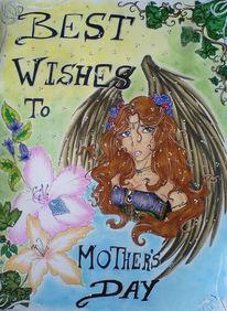 Glückwünsche, Blüte, Grußkarten, Engel