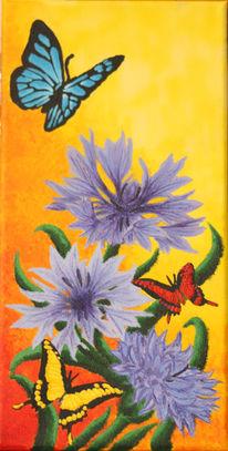 Blüte, Schmetterling, Sommer, Kornblumen