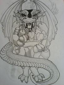 Fantasie, Tattoo, Drache, Zeichnungen