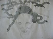 Medusa, Schlange, Selbstportrait, Zeichnungen