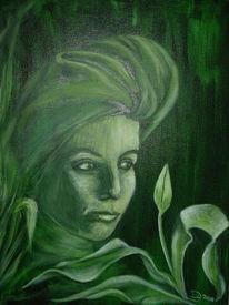 Tiefgrün, Stille, Portrait, Malerei