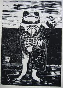 Schiff, Frosch, Linoldruck, Glück
