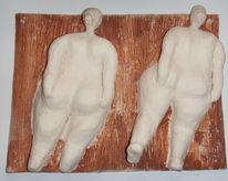 Frau, Relief, Terrakotta, Akt