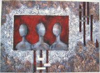 Figur, Metall, Acrylmalerei, Kopf
